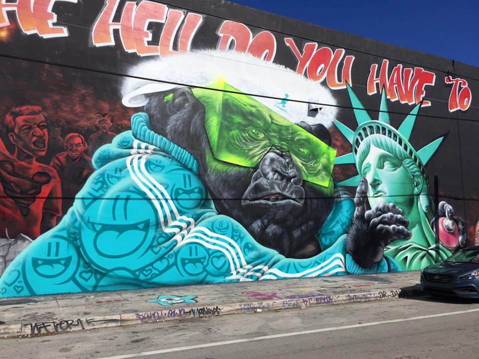 Miami Artists Remove Trump's Face from Bushwick Collective's Anti-Trump Mural in Wynwood